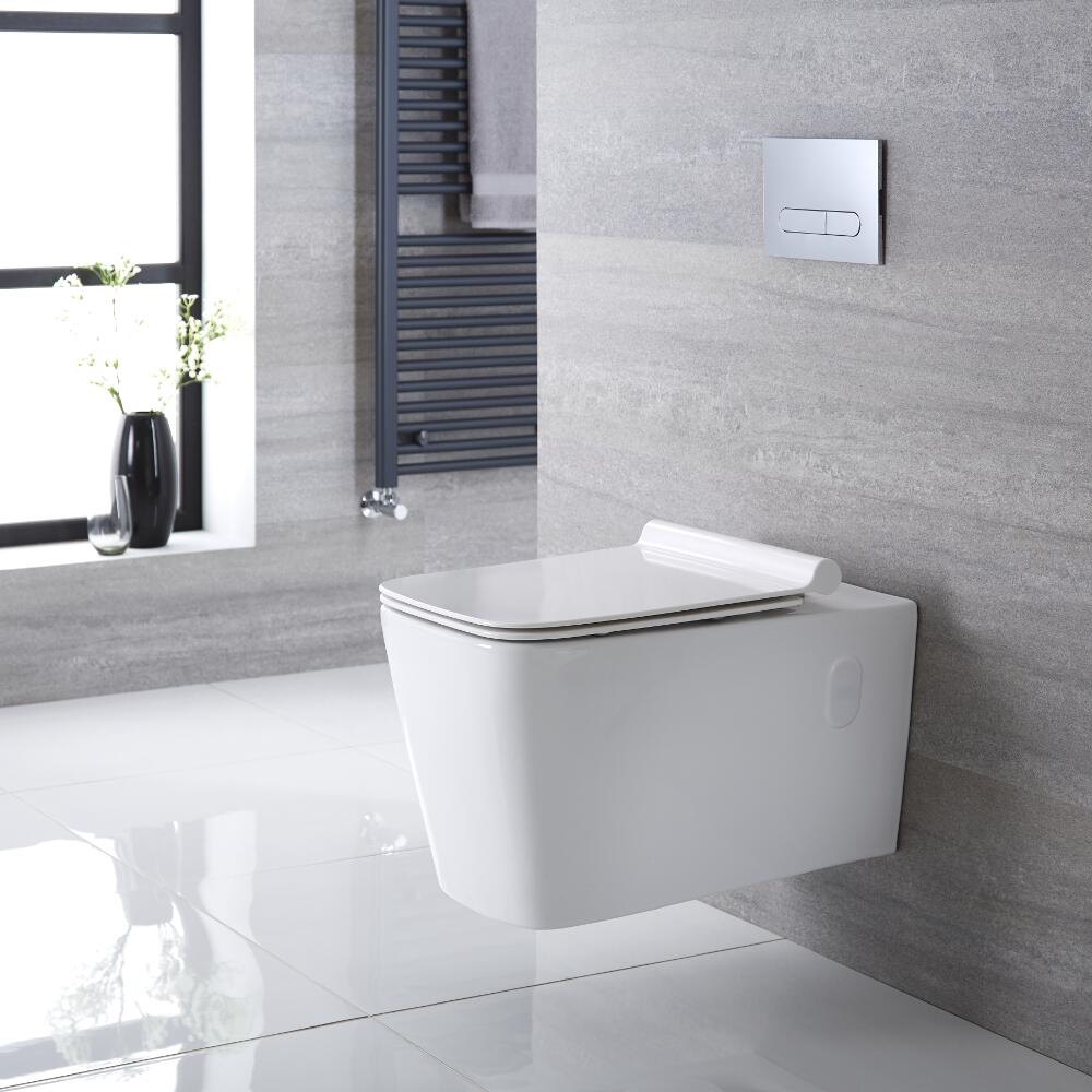 Sandford Hangend Keramiek Toilet incl WC Bril Vierkant Wit