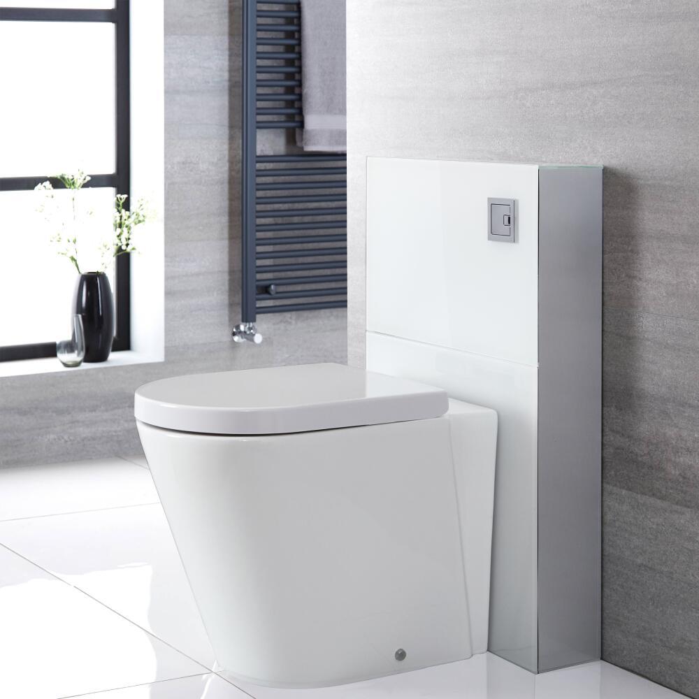 Staand Toilet | Alswear Stortbak Ombouw Dubbele Spoelknop 3/6 Liter Wit 50cm | Saru