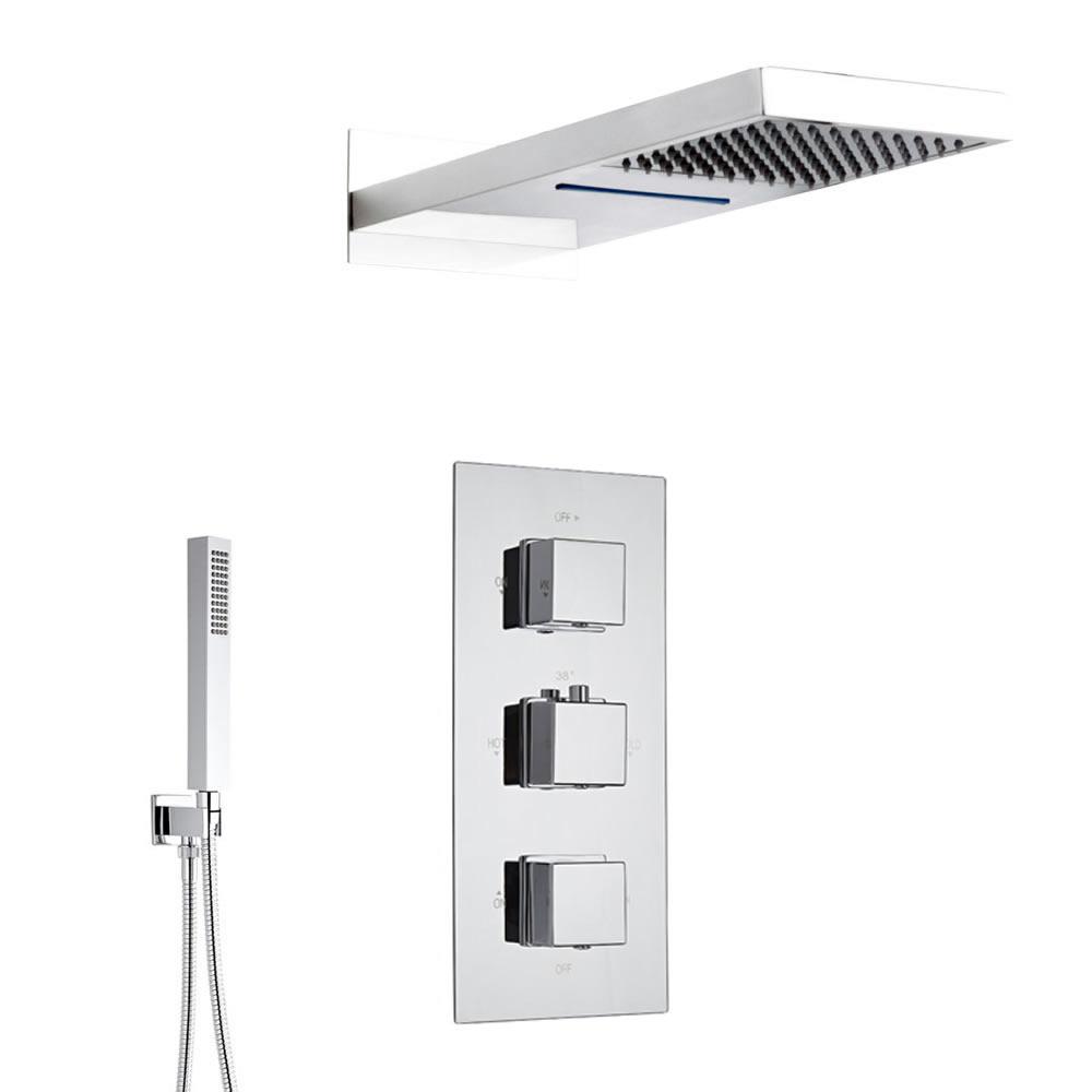 Kubix 3-weg thermostatisch doucheset met omstelkraan met waterval/regen douchekop