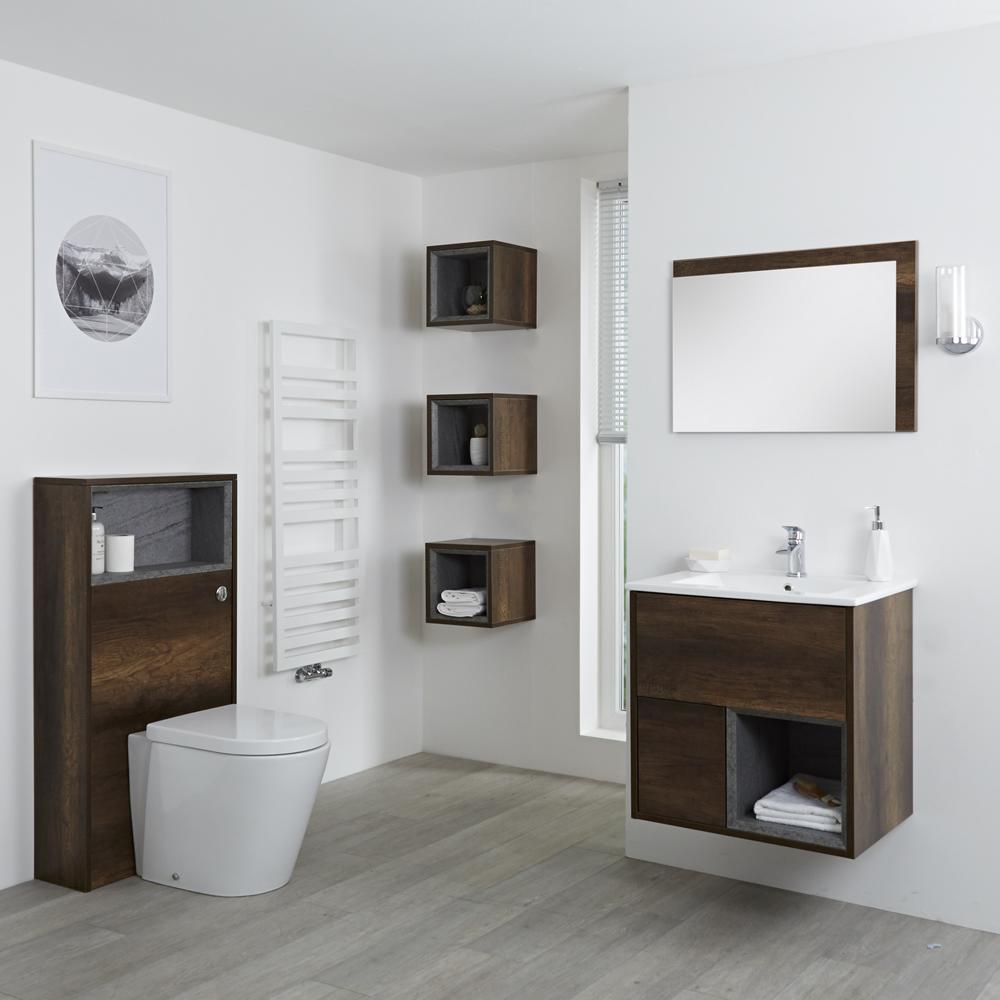 Badkamermeubel Set Hangend 60 cm Donker Eiken Incl Wastafelmeubel + Toilet + Stortbak + Ombouw + Spiegel - incl/excl. LED - Hoxton