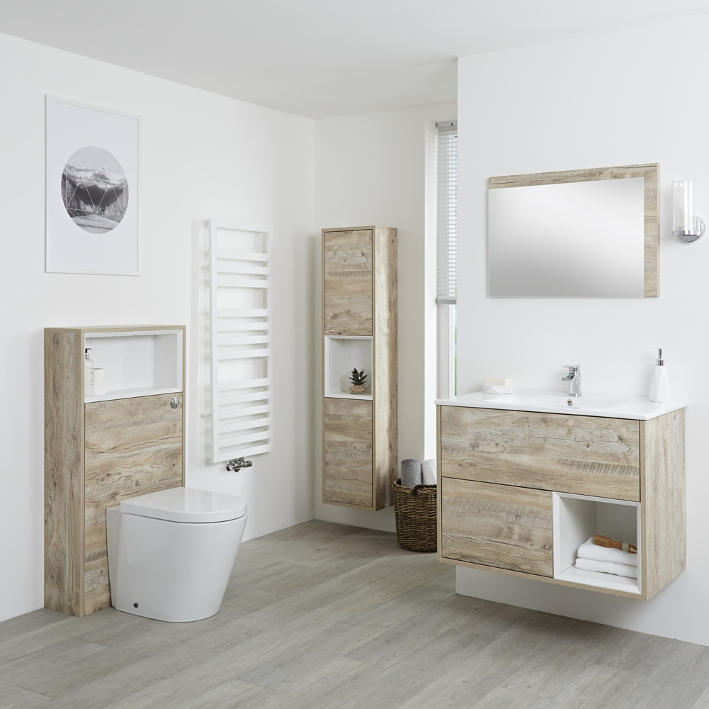 Badkamermeubel Set Hangend 80cm Licht Eiken Incl Wastafelmeubel Toilet Stortbak Ombouw Kast Spiegel Inclexcl Led Hoxton