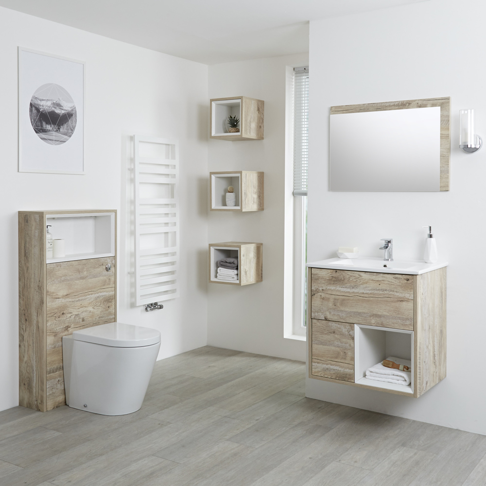 Badkamermeubel Set Hangend 60 cm Licht Eiken Incl Wastafelmeubel + Toilet + Stortbak + Ombouw - incl/excl. LED - Hoxton