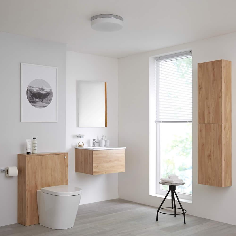 Newington Hangend Wastafelmeubel 60cm met Wasbak - Staand Toilet met Ombouw - Kast en Spiegel Goud Eiken