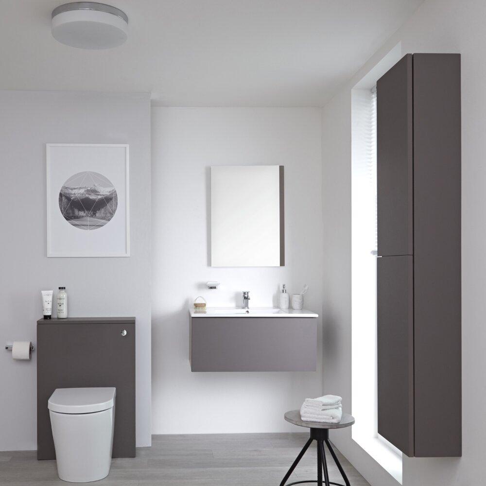 Badkamermeubel Set Hangend 80cm Mat Grijs Incl Wastafelmeubel + Toilet + Stortbak + Ombouw  + Kast + Spiegel - incl/excl. LED - Newington