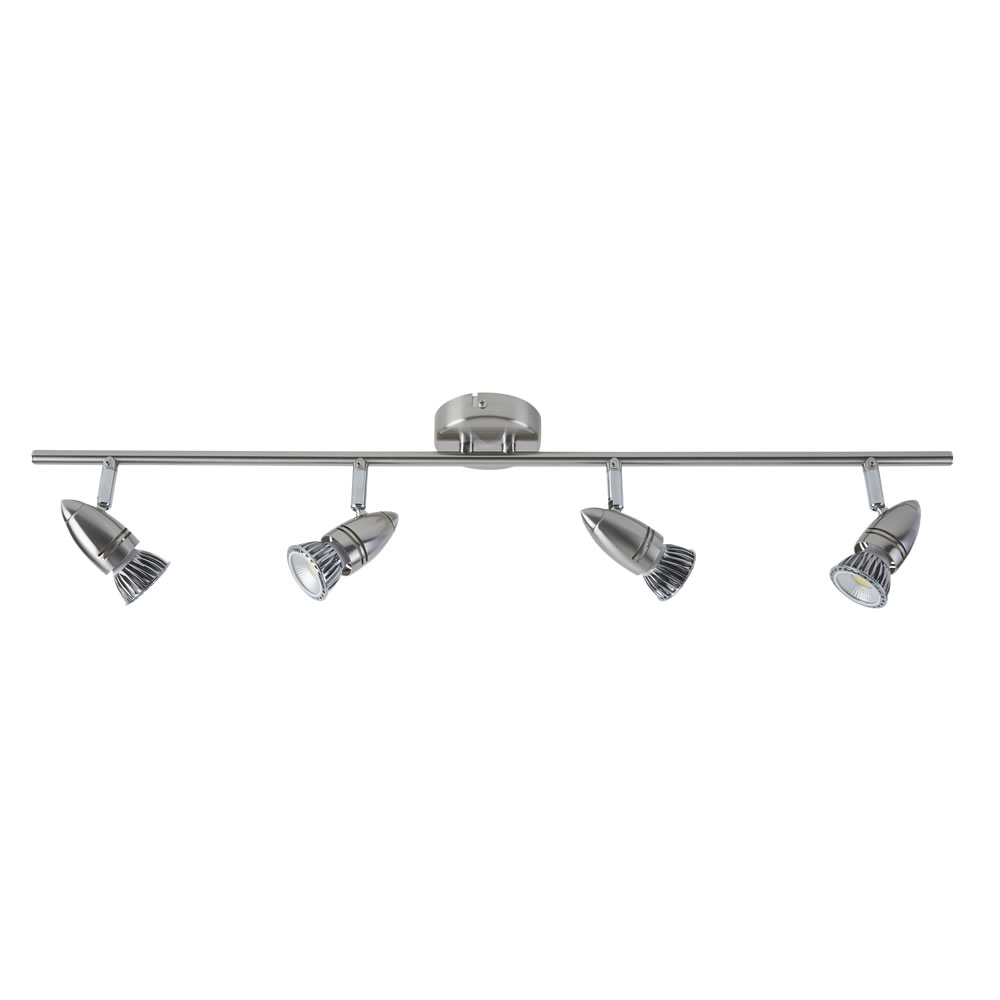 GU10 RVS Plafondspot Met 4 Spots - Satijn Nikkel