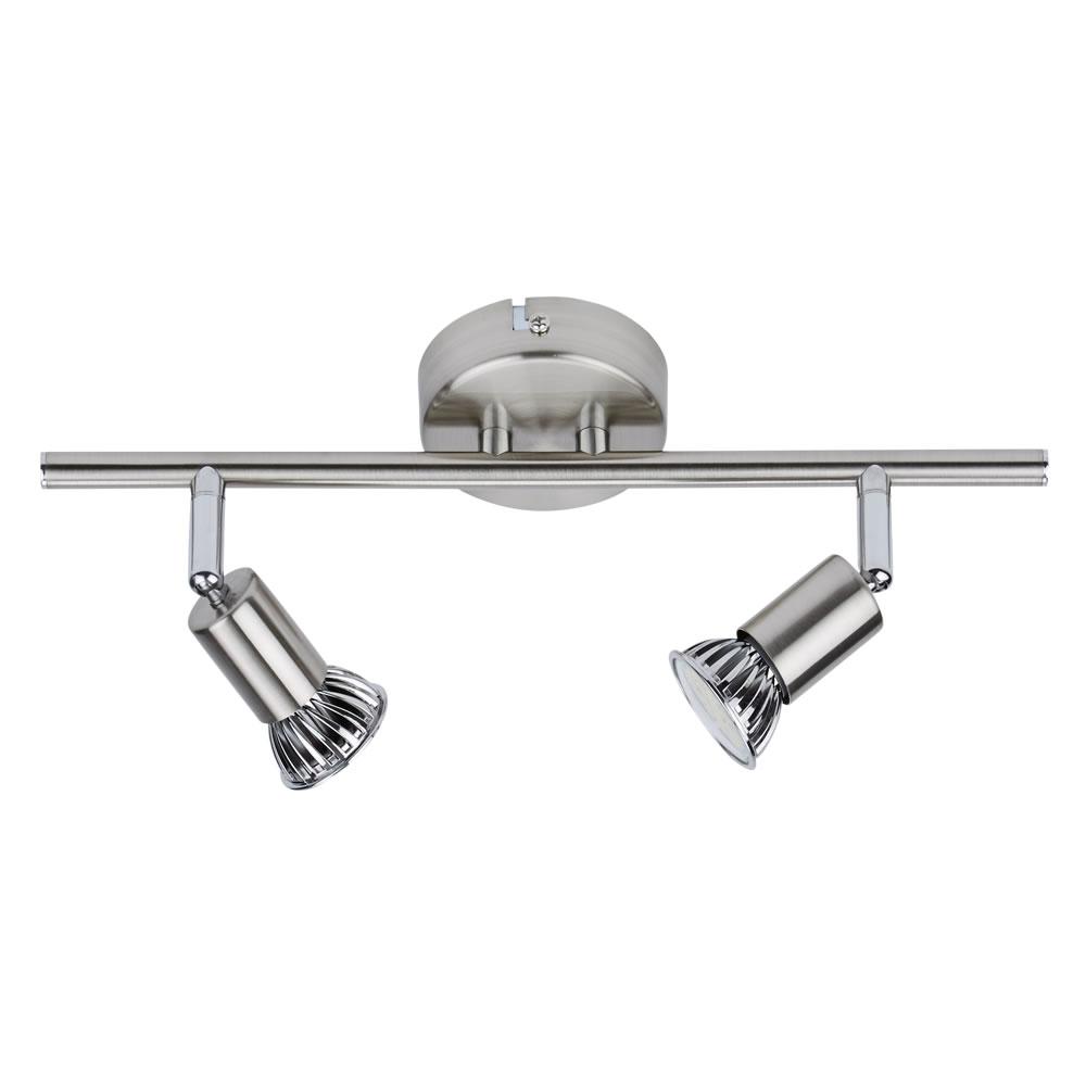 GU10 RVS Plafondspot Met 2 Spots - Satijn Nikkel