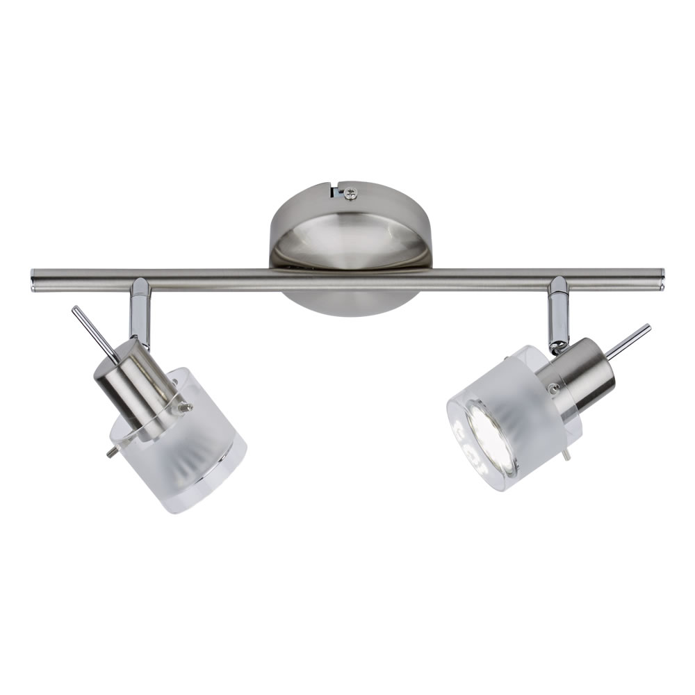 GU10 RVS Plafondspot Met 2 Spots - Satijn Nikkel / Mat Glas