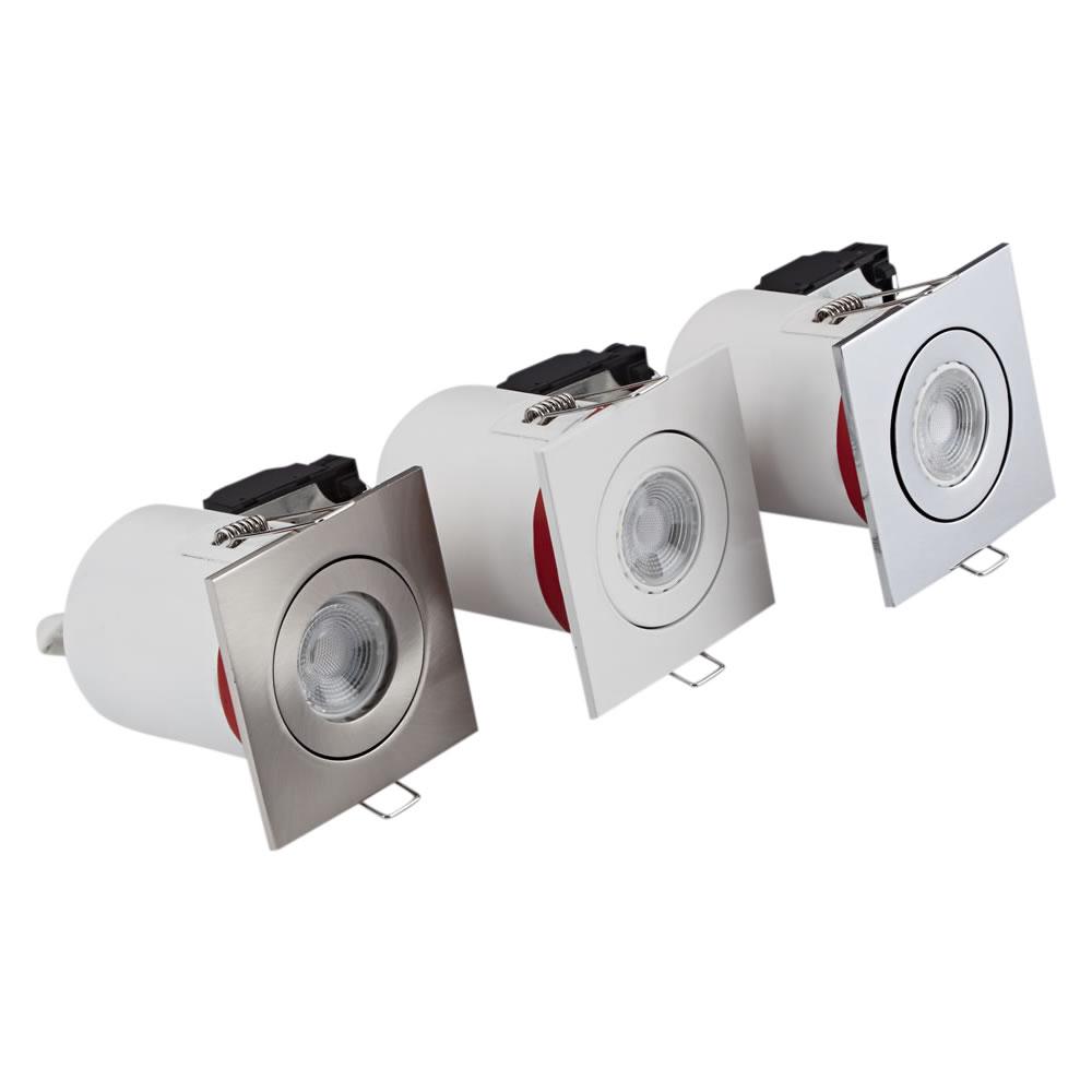 3 x IP20 GU10 Inbouwspot Kantelbaar Excl Lamp Keus Uit 3 x Omlijstingen Vierkant
