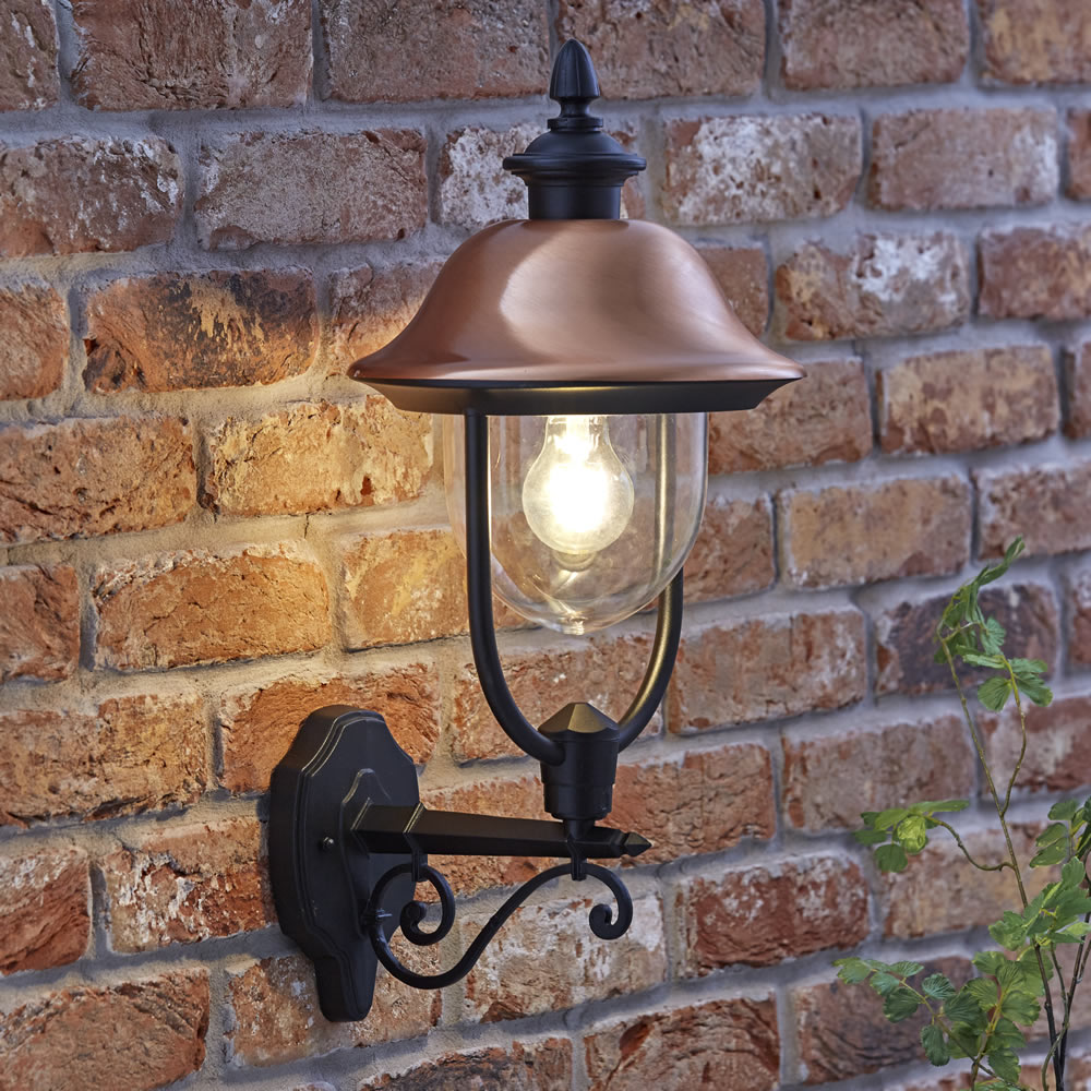 Biard Verona Dimbare Wandlamp Buiten Zwart en Koper excl. lamp E27 / IP44