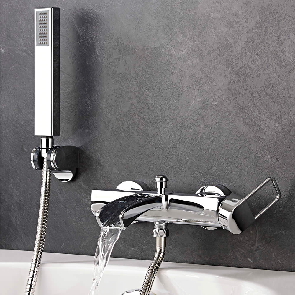 Badmengkraan Muurbevestigd met Watervaluitloop, Handdouche en Handdouchehouder Chroom | Select