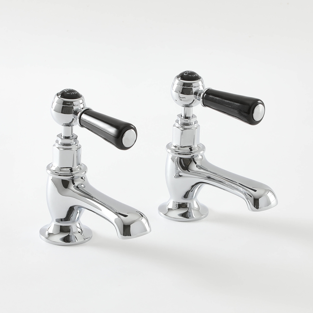 2 x Wastafelkraantjes Klassiek Steel Handvat   Chroom en Zwart   Elizabeth