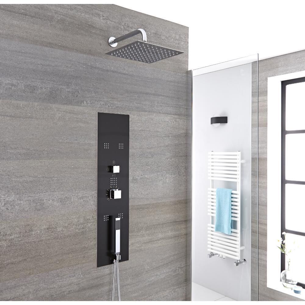 Llis 3-weg Inbouw Thermostatisch Douchepaneel Staalgrijs Douchekop 20 x 20cm Handdouche en Bodyjets