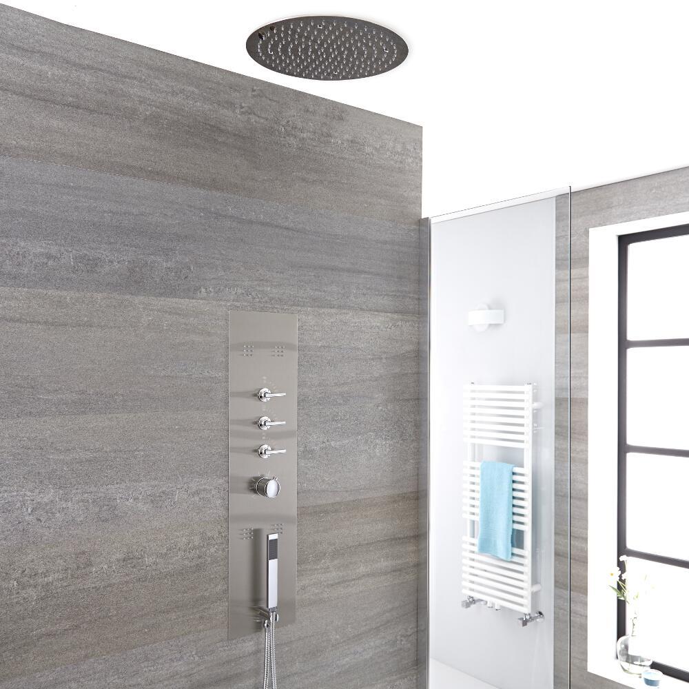 Douchepaneel 3-weg Inbouw Geborsteld Staal d.40cm Verzonken Plafond Douchekop Handdouche & Zijdouches | Voco