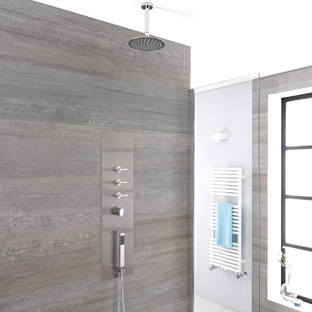 Voco 3-weg Inbouw Douchepaneel Geborsteld Staal d. 20cm Douchekop 15cm Plafond-arm Handdouche & Bodyjets