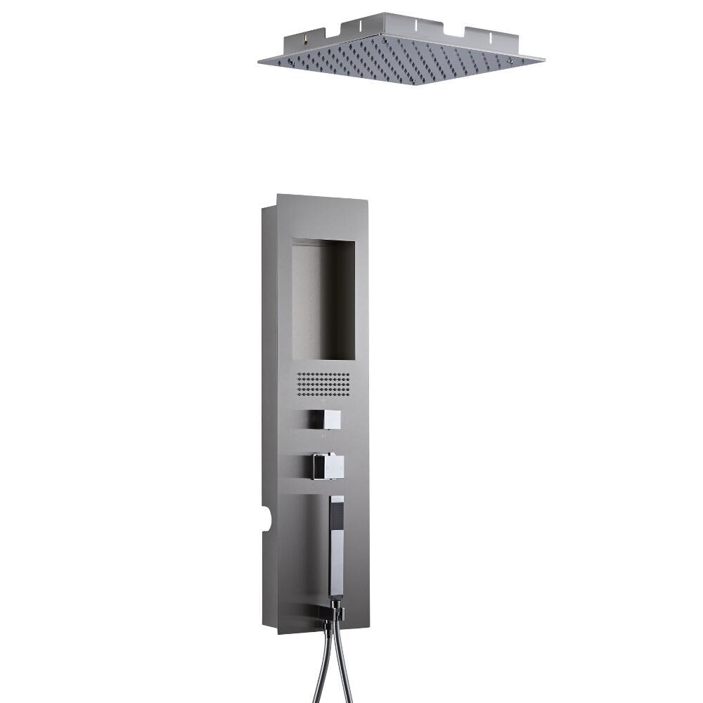 Llis 2-delig Inbouw Douchepaneel Thermostatisch Geborsteld Staal met Verzonken 20 x 20 cm RVS Plafonddouchekop