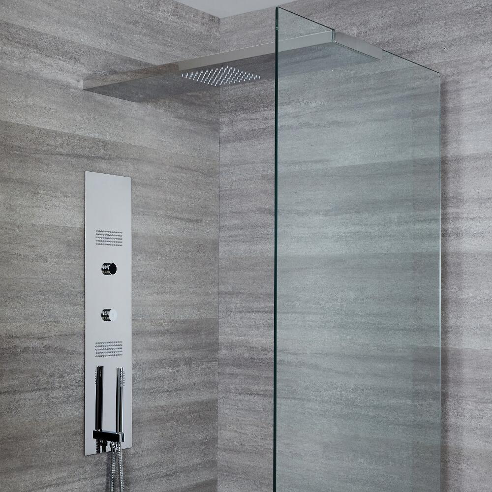 Narus 3-weg Thermostatisch Digitaal Inbouw Douchepaneel & Douchehemel 90 cm