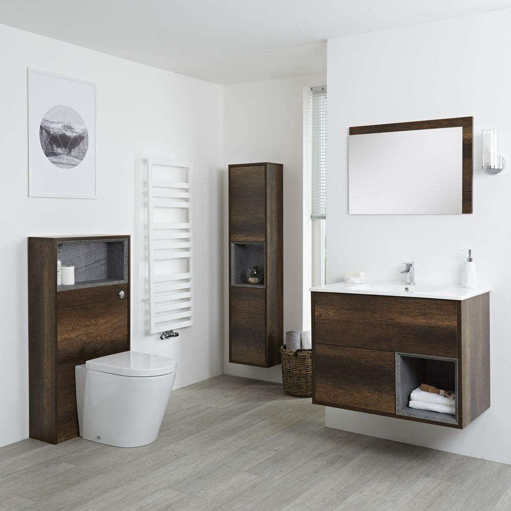 Badkamermeubel Set Hangend 80cm Donker Eiken Incl Wastafelmeubel Toilet Stortbak Ombouw Kast Spiegel Inclexcl Led Hoxton