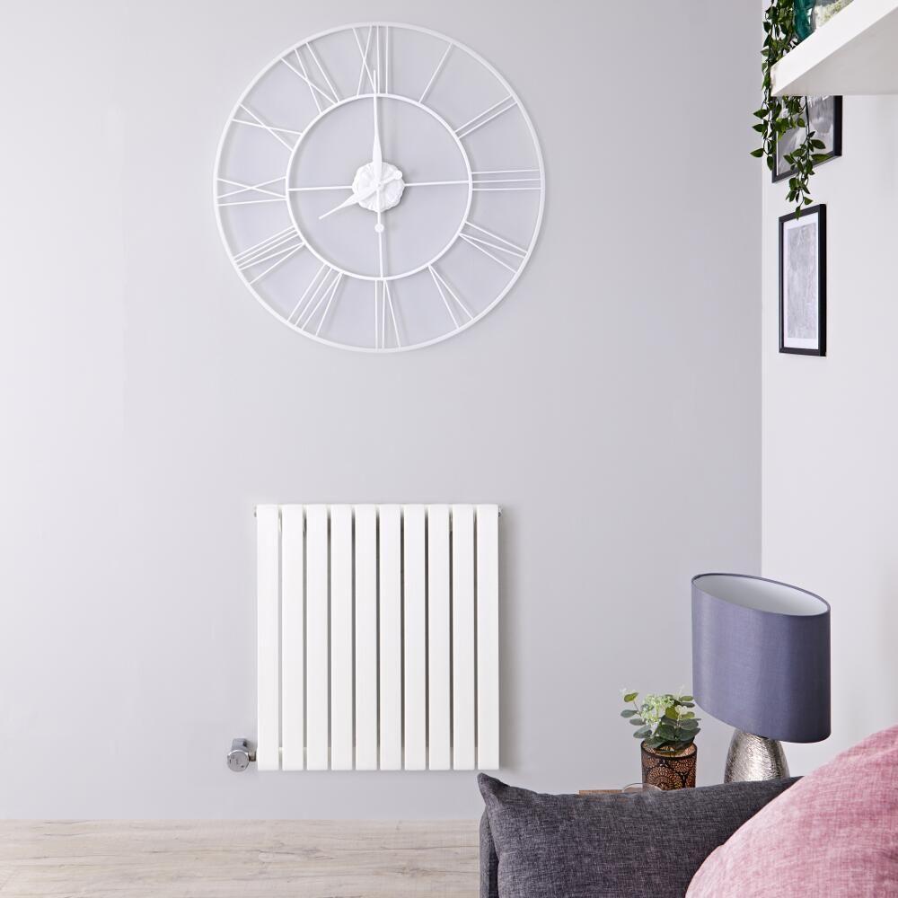 Elektrische Design Radiator.Designradiator Elektrisch Met Thermostaat Horizontaal Wit 63 5cm X 60cm Sloane