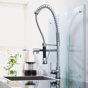 1-greeps Keukenmengkraan met tussenkraan & voorspoel-douche - Chroom