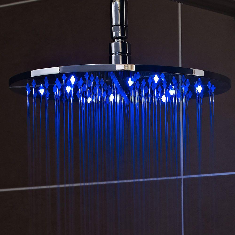 waterbesparende douchekop rvs rond met led licht 20cm