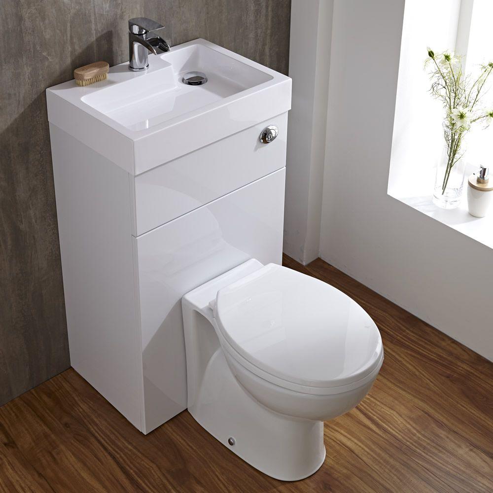 Rond Toilet Met Ingebouwde Wastafel 50cm X 86cm X 87 5cm