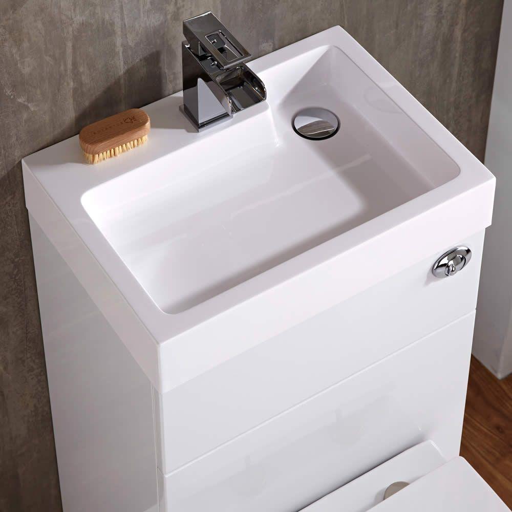 toilet met ingebouwde wastafel 87cm x 50cm 85cm wit. Black Bedroom Furniture Sets. Home Design Ideas