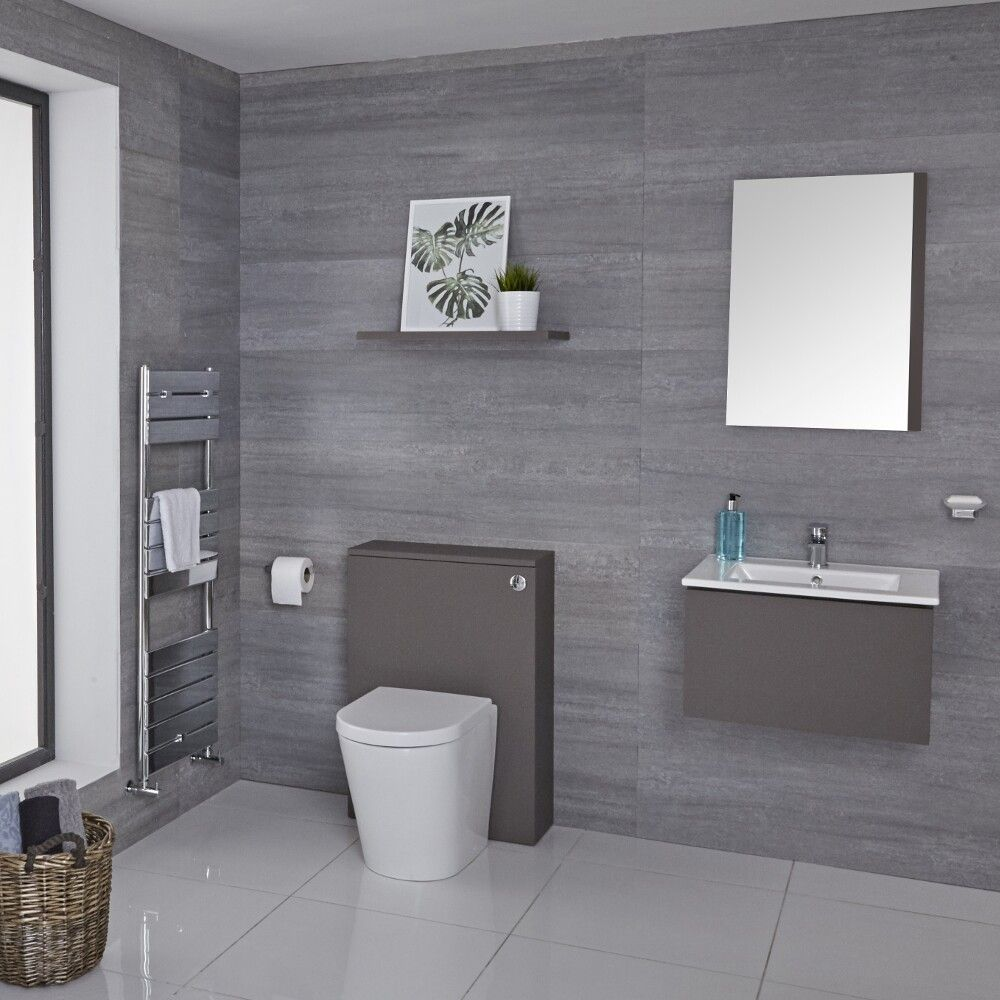 600mm Modern WC Unit with Back to Wall Toilet and Flush Plate- Matt Grey