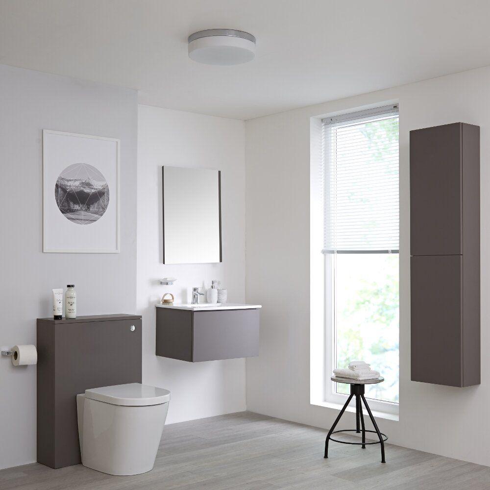 Newington Hangend Wastafelmeubel 60cm Met Wasbak Staand Toilet Met Ombouw Kast En Spiegel Mat Grijs