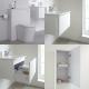 Badkamermeubelset 60cm Hangend Wit Wastafelmeubel en Toiletset met Kast en Spiegel   Newington