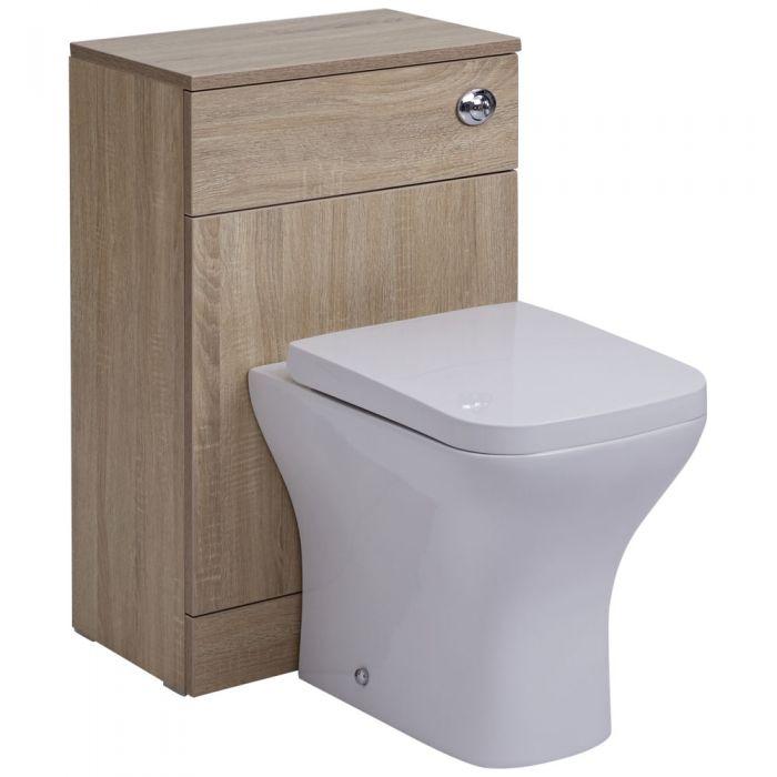 BASIC Toiletmeubel 50cm x 30cm x 76,5cm met keramische Toiletpot en Dual Flush spoeling