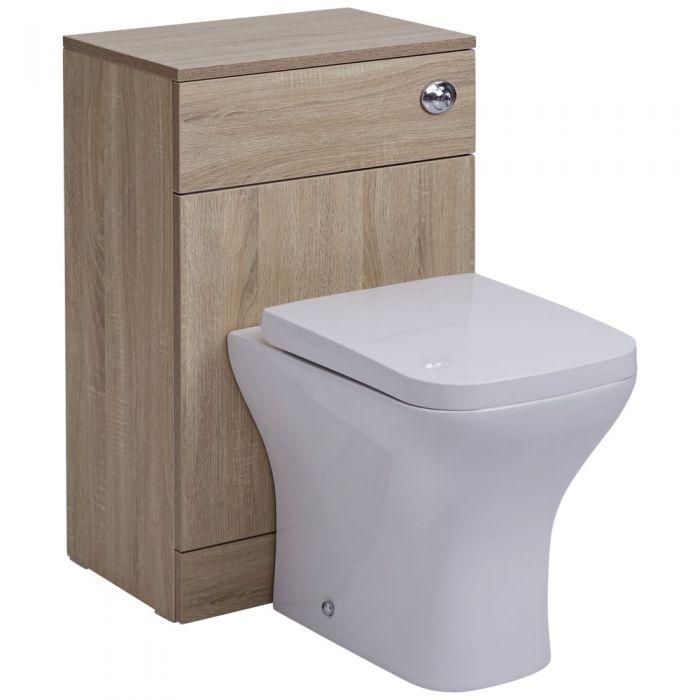 BASIC Toiletmeubel 50cm x 33cm x 76,5cm met Dual Flush spoeling - Gehoekte uitvoering