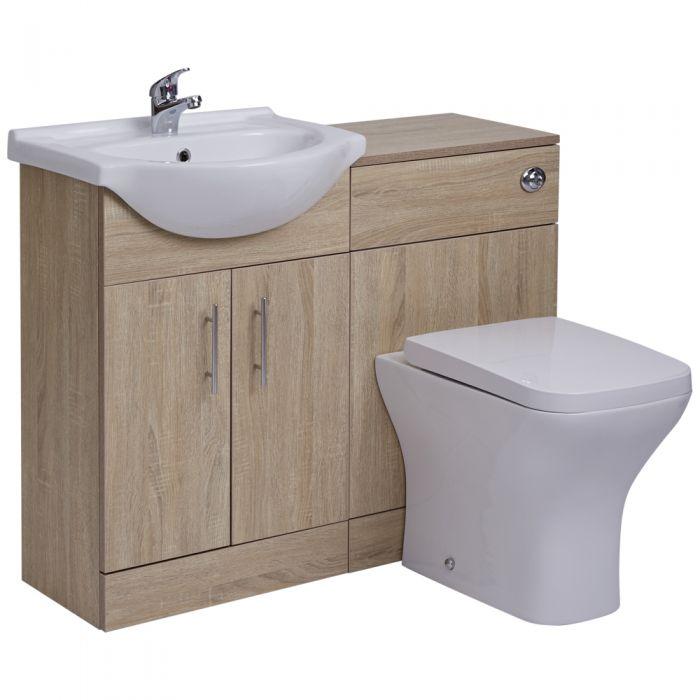 BASIC Wastafelmeubel & Toiletcombinatie 104cm x 85cm x 81cm (gehoekt)