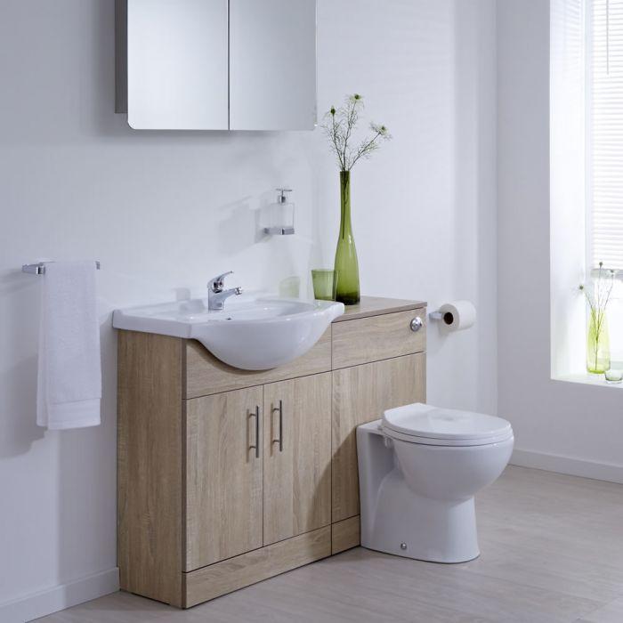 BASIC Wastafelmeubel & Toiletcombinatie 114cm x 82cm x (rond)