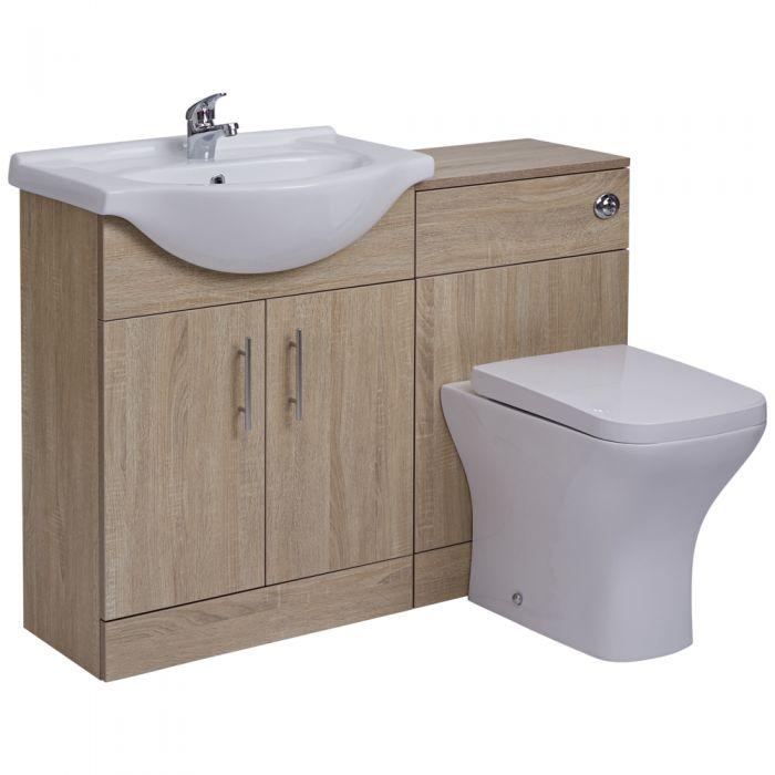 BASIC Wastafelmeubel & Toiletcombinatie 114cm x 82cm x 81cm (gehoekt)