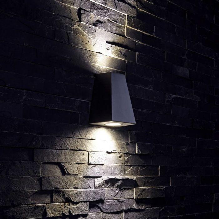 Op- en Neerwaartse Buitenlamp - Chroom - Gehoekt
