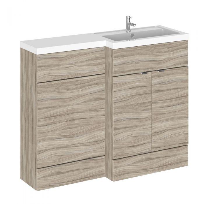 110cm x 35,5cm Modern Drijfhout effect Staand Wastafel & Toiletmeubel-combinatie - Rechter Uitvoering