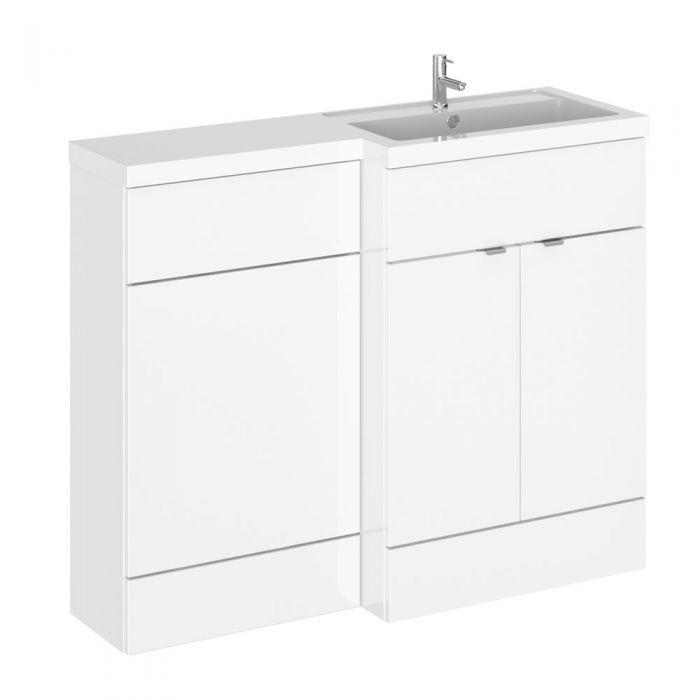 110cm x 35,5cm Modern Wit hoogglans Staand Wastafel & Toiletmeubel-combinatie - Rechter Uitvoering