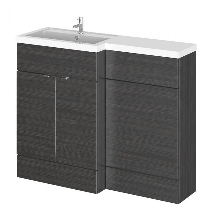 110cm x 35,5cm Modern Zwart Staand Wastafel & Toiletmeubel-combinatie - Linker Uitvoering