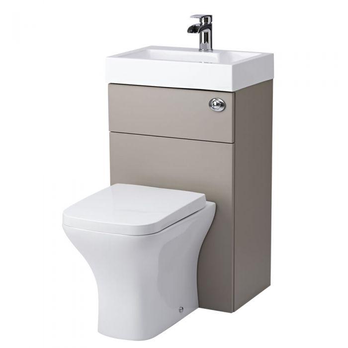 Toilet met ingebouwde wastafel 87,5cm x 50cm x 85cm Steengrijs