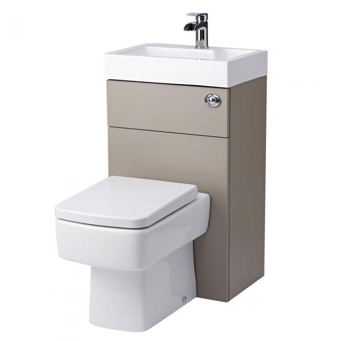 Toilet met ingebouwde wastafel - 50cm x 86cm x 87,5cm -Steengrijs