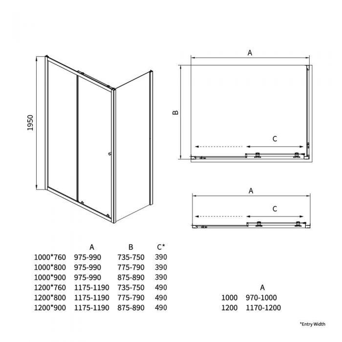 Hutton Douche Schuifdeur - 5mm dik veiligheidglas - 195cm x 120cm