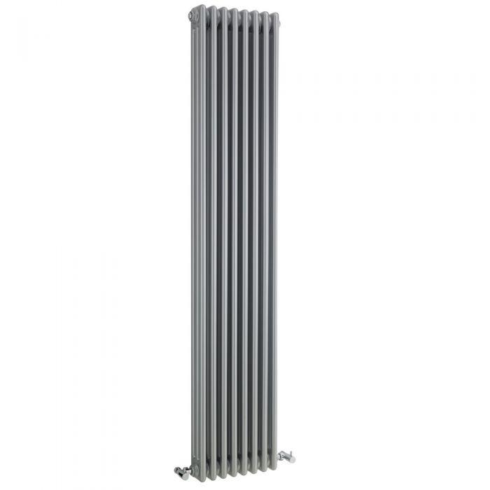 Windsor Designradiator Verticaal Klassiek Zilver 180cm x 38,1cm x 10cm 1558 Watt