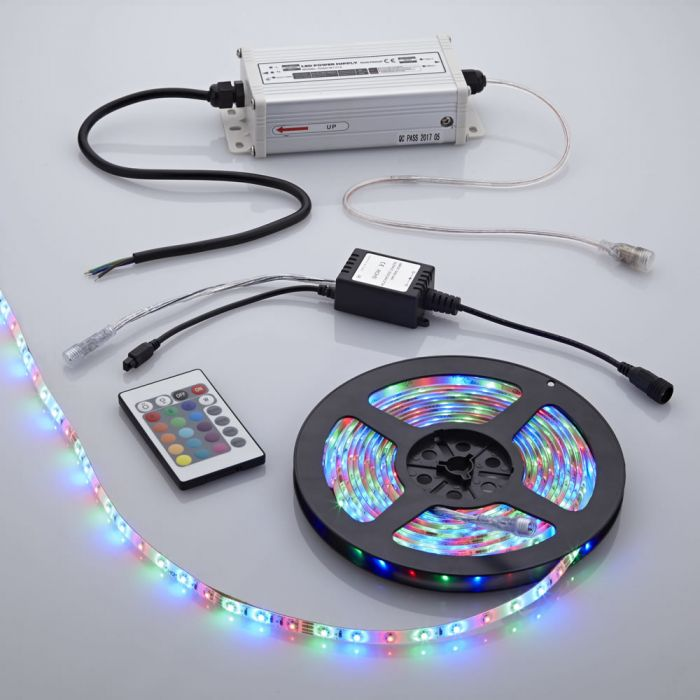 1 x Waterbestendige LED 3528 strip verlichting incl IR Controller - 5 meter - Rood/Groen/Blauw/Wit
