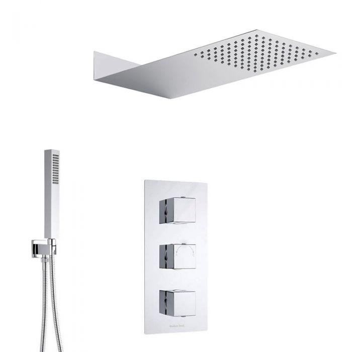 Kubix 2-weg thermostatisch doucheset zonder omstelkraan (douchekop 20x43cm)