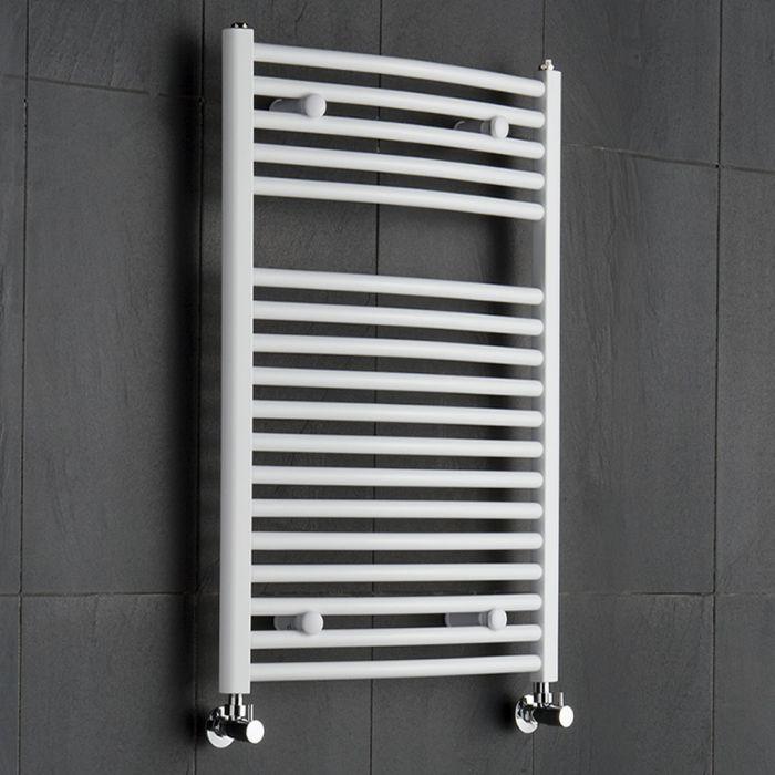 Etna Gebogen Handdoekradiator Wit 80cm x 60cm x 5,2cm 592 Watt