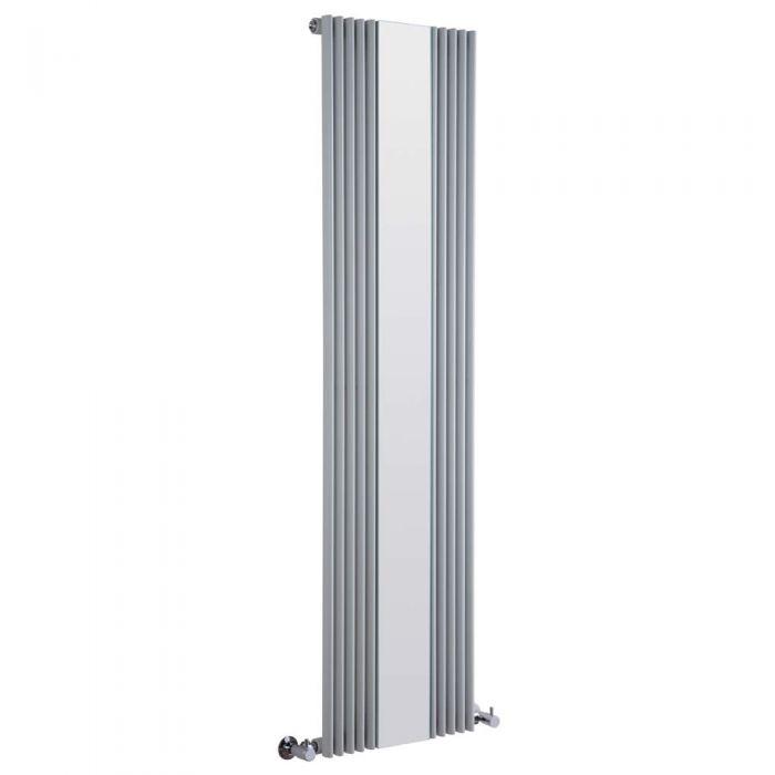Keida Designradiator Verticaal Met spiegel Zilver 160cm x 42cm x 6,3cm 840 Watt