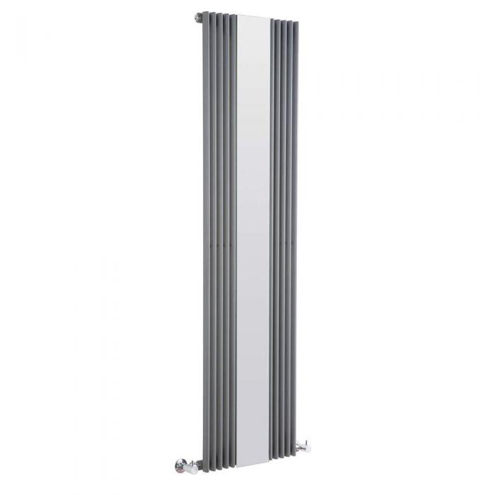 Keida Designradiator Verticaal Met spiegel Antraciet 160cm x 42cm x 6,2cm 840 Watt