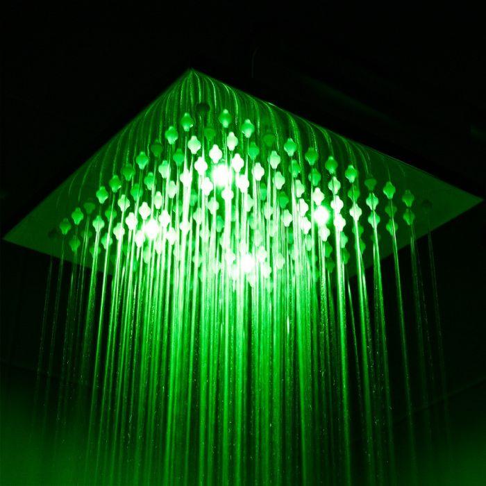 Douchekop RVS Vierkant met LED Licht 20 x 20cm