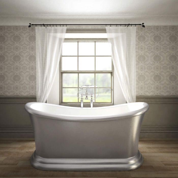 Luxe klassiek zilvergrijs metallic vrijstaand bad
