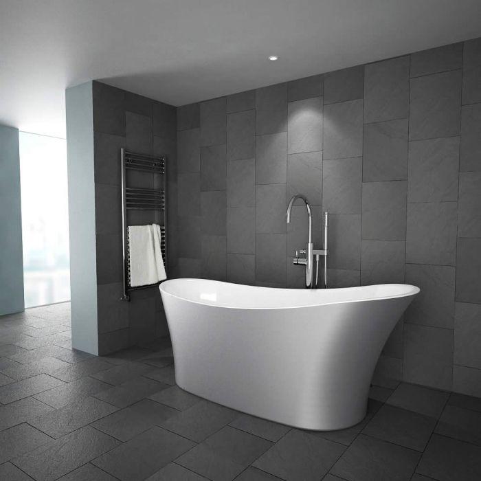Luxe modern zilvergrijs metallic vrijstaand bad